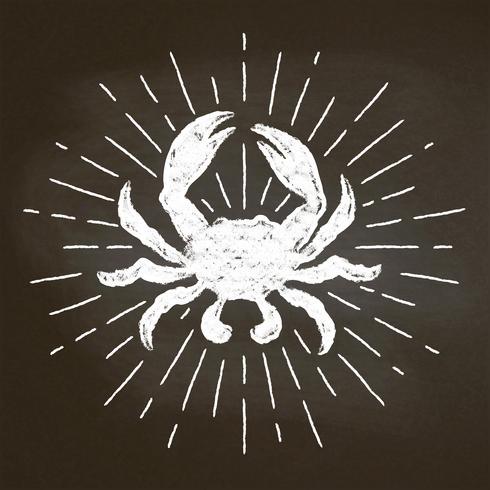 Krabbenkreide silhoutte mit Sonnenstrahlen auf Tafel. Gut für Fischrestaurant-Menüdesign, -dekor, -logos oder -plakate. vektor