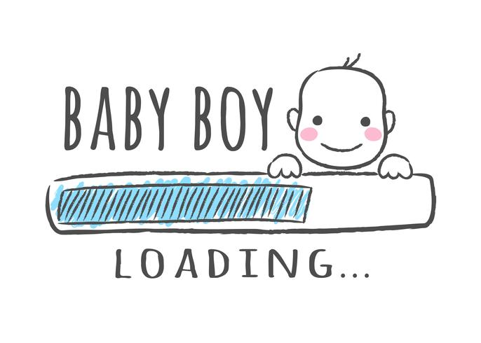 Progress bar med inskription - Baby pojke laddar och barn ansikte i sketchy stil. Vektor illustration för t-shirt design, affisch, kort, baby shower dekoration
