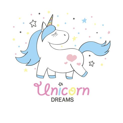 Magic söt enhörning i tecknad stil. Doodle unicorn för kort, affischer, t-shirt tryck, textil design vektor