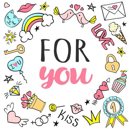Hälsningskort, affisch med för dig bokstäver och handgjorda flickaktiga klotter för valentinsdag eller födelsedag. vektor