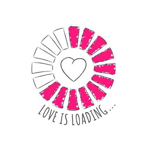 Round progress bar med inskription - Kärlek är lastning och hjärtform i sketchy stil. Vektorillustration för t-shirtdesign, affisch eller valentinkort. vektor