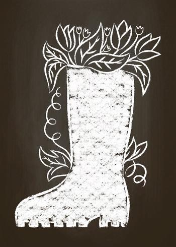 Kreideschattenbild des Gummistiefels mit Blättern und Blumen auf Kreidebrett. Gartenarbeitkarte der Typografie, Plakat. vektor