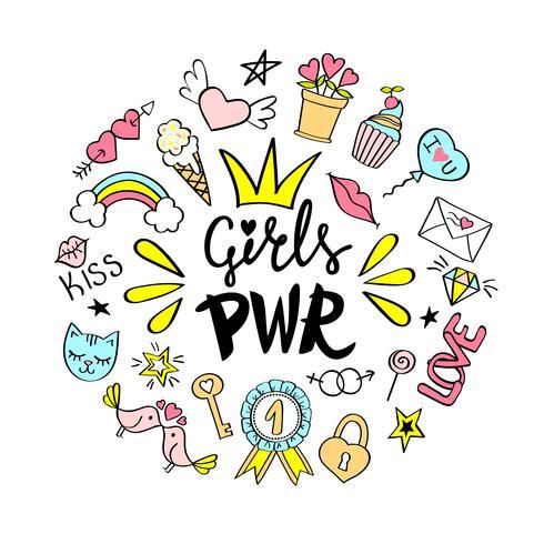 Girls Power Schriftzug mit girly Kritzeleien zum Valentinstag Kartendesign, Mädchen T-Shirt Druck, Poster. Hand gezeichneter fantastischer komischer Feminismusslogan in der Karikaturart. vektor