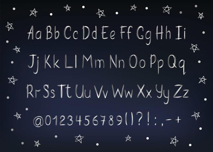Silbernes Alphabet in der flüchtigen Art. Vector handgeschriebene Bleistiftbuchstaben, -zahlen und -Interpunktionszeichen. Metallische Stift Handschrift Schriftart.