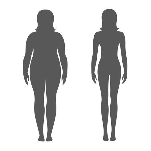 Vektor illustration av en kvinna före och efter viktminskning. Kvinnlig kropps silhuett. Framgångsrikt diet och sportkoncept. Små och feta tjejer.