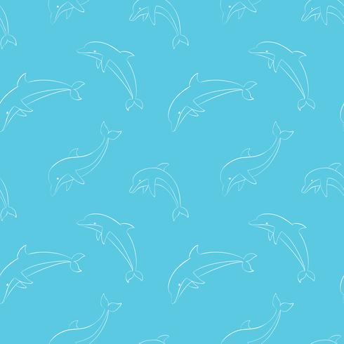 Nahtloses Muster des Vektors mit dem Spielen von Delphinen. vektor