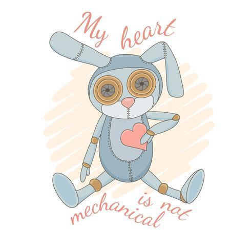 Söt mekanisk kanin som sitter med rosa hjärta. vektor