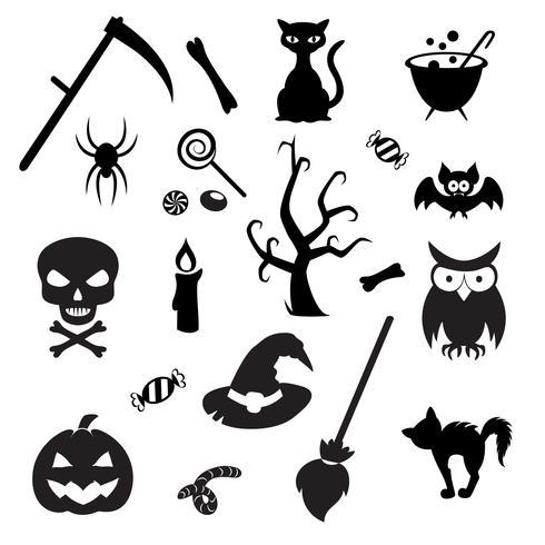 Reihe von Halloween-Elementen. Sammlung der Vektorikone für Halloween-Design. vektor