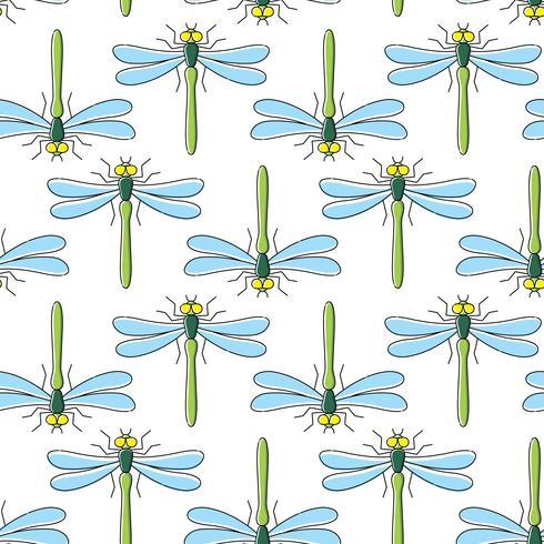 Dragonfly vektor sömlöst mönster för textil design, tapeter, papper