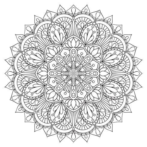 Orientaliskt dekorativt element för vuxen färgbok. Etnisk prydnad. Monokrom konturmandala, Anti-stress terapi mönster. Yogasymbol. vektor