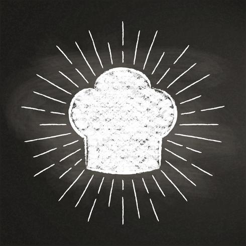 Hauchkreide des Chefs silhoutte mit Sonnenstrahlen auf Tafel. Gut zum Kochen von Logos, Bades oder Postern. vektor