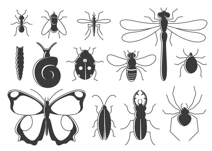 Insekter satt i platt stil. Line art bugs icon collection. vektor