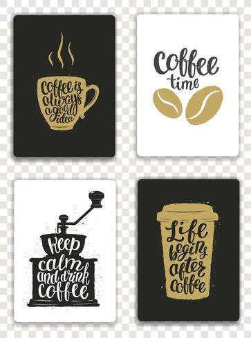 Set med moderna kort med kaffeelement och bokstäver. Trendiga hipstermallar för flygblad, inbjudningar, menydesign. Svarta, vita och gyllene färger. Modern kalligrafi vektor illustration.