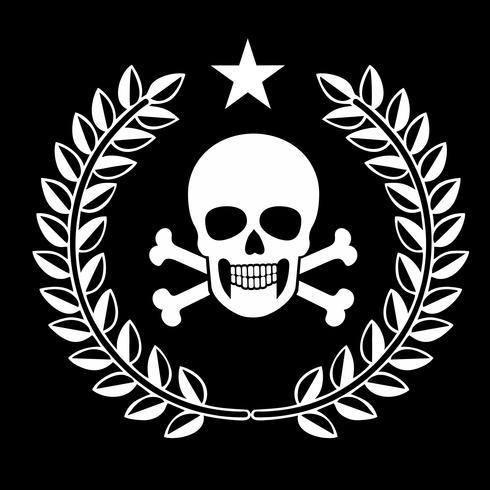 militär emblem med skalle, vektor