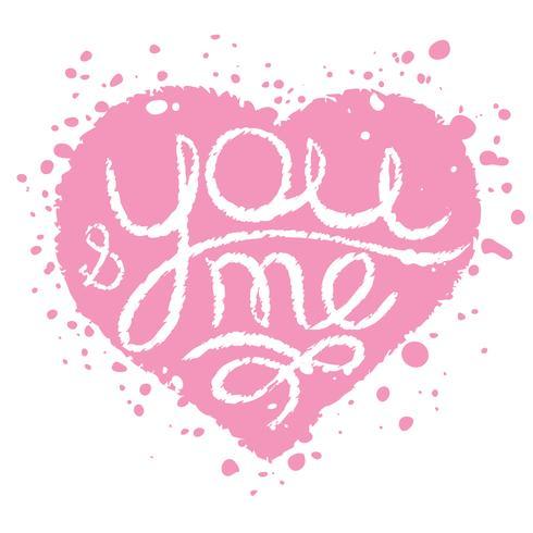 Handgjorda kort med rosa målade hjärta för bröllop, Alla hjärtans dag. Du och jag bokstäver. vektor