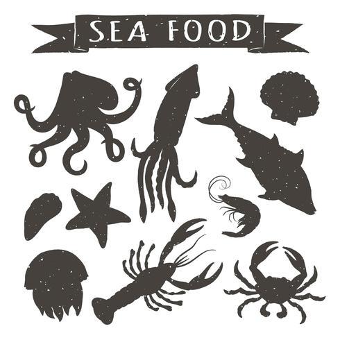 Gezeichnete Vektorillustrationen der Meeresfrüchte Hand lokalisiert auf weißem Hintergrund, Elemente für Restaurantmenüdesign, Dekor, Aufkleber. Vintage Silhouetten von Meerestieren. vektor
