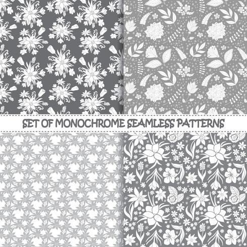Sats av sömlösa monokroma vektormönster. Blommönster. Monokrom sömlösa vektormönster. Vektor monokrom bakgrund. Set av blommiga vektor sömlösa textil smycken. Upprepande blommigt JPG.