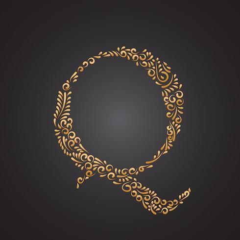blommigt gyllene prydnadsbrev q vektor