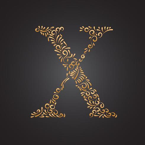 blommigt guld prydnadsbrev x vektor