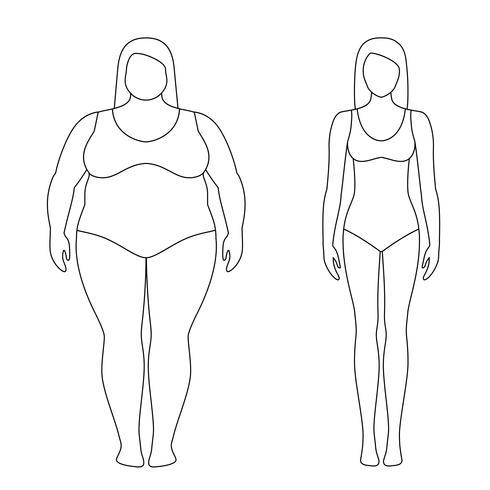 Umrissene Illustration einer Frau vor und nach Gewichtsverlust. Weiblicher Körper. Erfolgreiches Diät- und Sportkonzept. Schlanke und dicke Mädchen. vektor