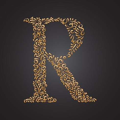 blommigt guld prydnadsbrev r vektor