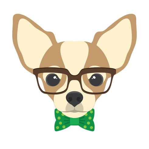 Porträtt av chihuahua hund med glasögon och slips i platt stil. Vektor illustration av Hipster hund för kort, t-shirt tryck, skylt.