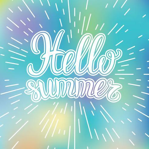 Hand, die inspirierend Typografieplakat hallo Sommer auf unscharfem Hintergrund beschriftet. vektor