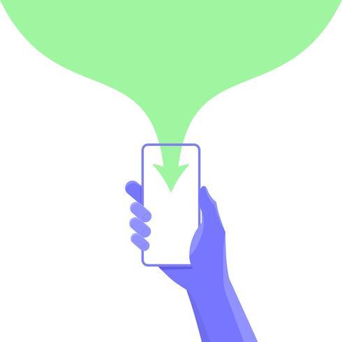 Handhåll smartphone. data nedladdning koncept. med kopieringsutrymme för grafiskt designinnehåll. Vektor illustration