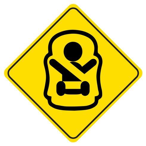 Klistermärke Baby ombord. Symbol för en baby i bilsitsen. Barnsäkerhetsskylt för bilfönster. vektor
