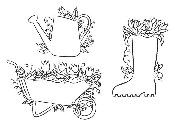 Grunge Konturen der Gießkanne, Boot und Schubkarre mit Blättern und Blüten. Sammlung im Garten arbeitende Plakate der Schmutzkontur. vektor