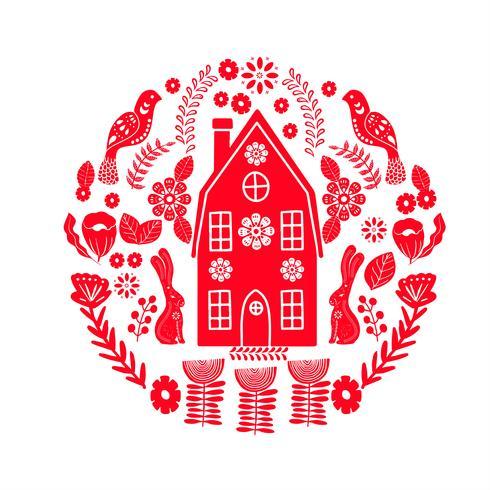Skandinavisches Volkskunstmuster mit kleinem Haus, Vögeln und Blumen vektor