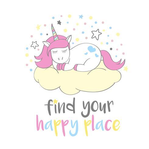 Magisk söt enhörning i tecknadstil med handbokstäver Hitta din glada plats. Doodle enhörning sova på ett moln. Vektor illustration för kort, affischer, barn t-shirt tryck, textil design.