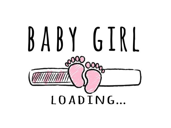 Progress bar med inskription - Baby Girl loading och barn fotspår i sketchy stil. Vektor illustration för t-shirt design, affisch, kort, baby shower dekoration.