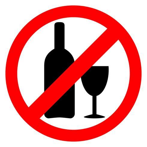 Kein Alkoholzeichen. Alkohol trinken ist verboten. vektor
