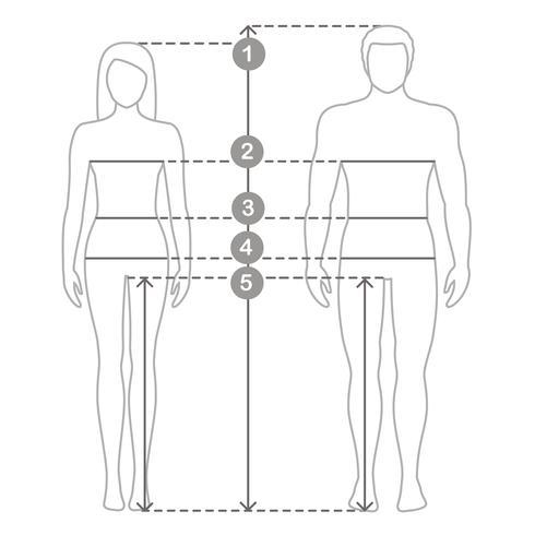 Vektor kontur illustration av män och kvinnor i full längd med mätlinjer av kroppsparametrar. Man och kvinnor storlekar mätningar. Människokroppsmätningar och proportioner.