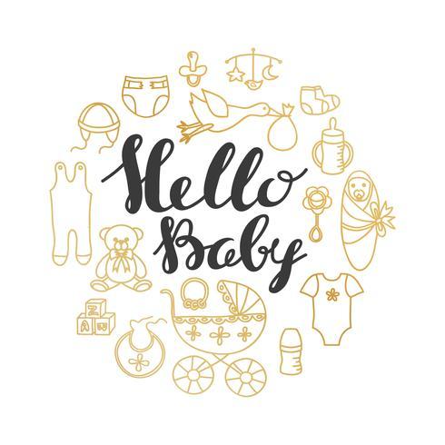 Babypartygruß und Einladungskarte vektor