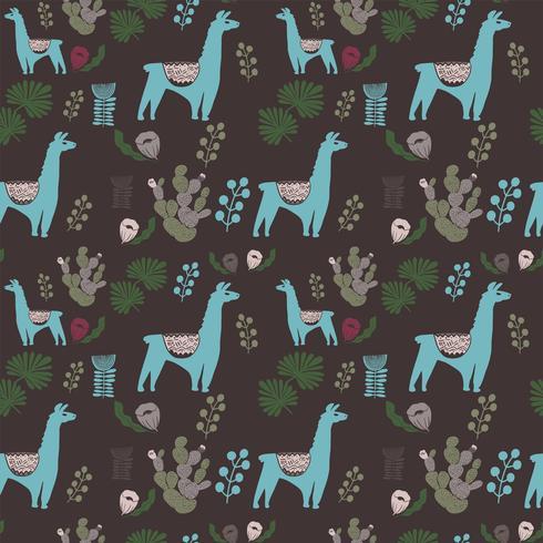 Abbildung mit Lama und Kaktuspflanzen. Vektornahtloses Muster auf botanischem Hintergrund. Grußkarte mit Alpaka. Nahtloses Muster vektor