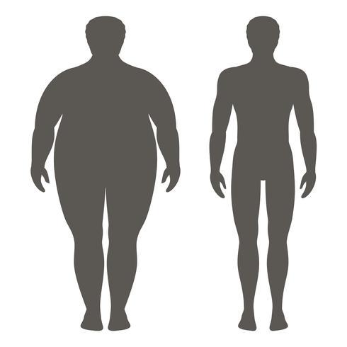 Vektor illustration av en man före och efter viktminskning. Manlig kropps silhuett. Framgångsrikt diet och sportkoncept. Smala och feta pojkar.