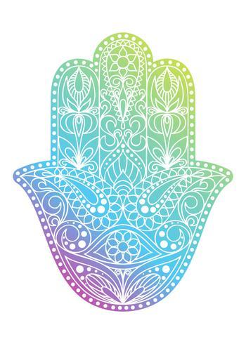 Handritad Hamsa symbol. Fatima hand. Etnisk amulett som är vanlig i indiska, arabiska och judiska kulturer. Färgrik Hamsa symbol med östlig blommig prydnad. vektor