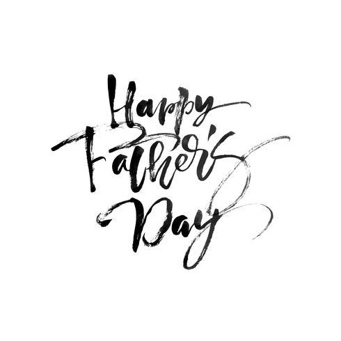 Lycklig fäder dag handritad kalligrafisk bokstäver textdesign. Vektor kalligrafi illustration isolerad citat. Typografiaffisch. Använd för gratulationskort, tagg, affisch