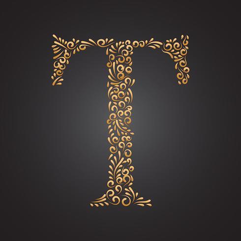 blommigt guld prydnadsbrev t vektor