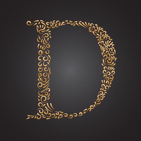 blommigt guld prydnadsbrev d vektor