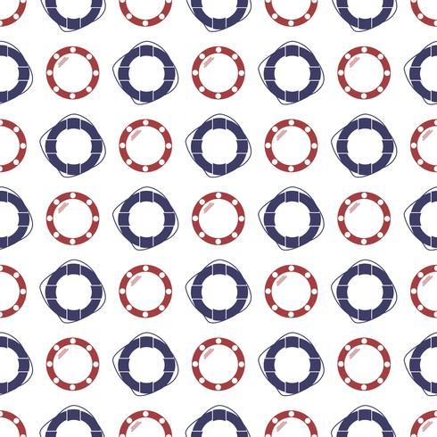 Nautiskt sömlöst mönster med ring livbåge och porthole. vektor