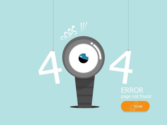 Hoppla 404 Fehlerseite nicht gefunden Vektor flache Bauform