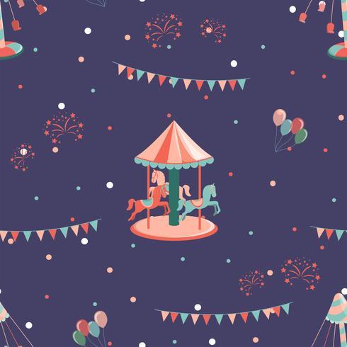 Nöjespark sömlöst mönster med karusell med timmar och karusell. vektor