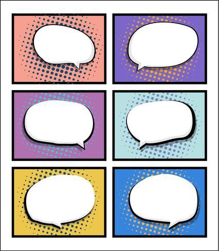 uppsättning av serietidning, popkonst med blank talbubbla vektor
