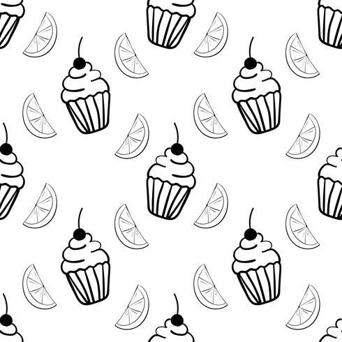 Nahtloses Muster der Bäckerei mit kleinem Kuchen und Segment der Zitrone vektor