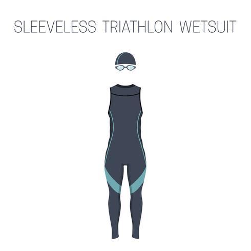 Ärmelloser Triathlon-Neoprenanzug für Herren vektor