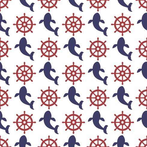 Nautiskt sömlöst mönster med hjul och val. vektor