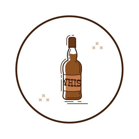 Linjekonstflaska whisky vektor